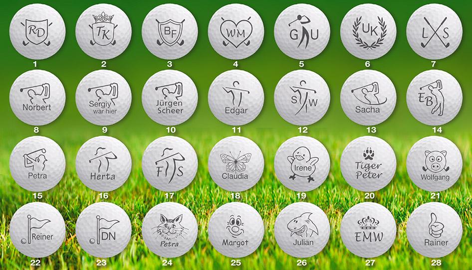 Golfballmotive - Motive zum Bedrucken von Golfbällen