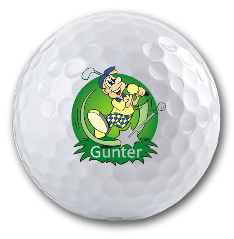Witziger Golfer - Golfmotiv auf Golfball