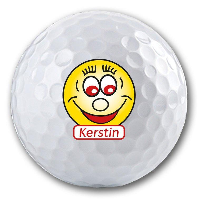 Bedruckter Golfball mit Smiley Motiv und Namen