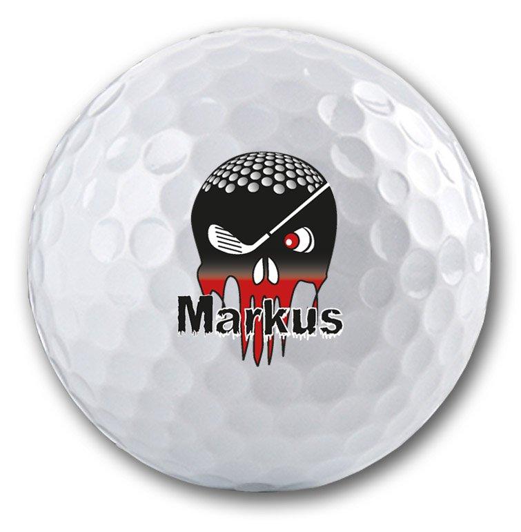 Totenkopf auf Golfball bedrucken