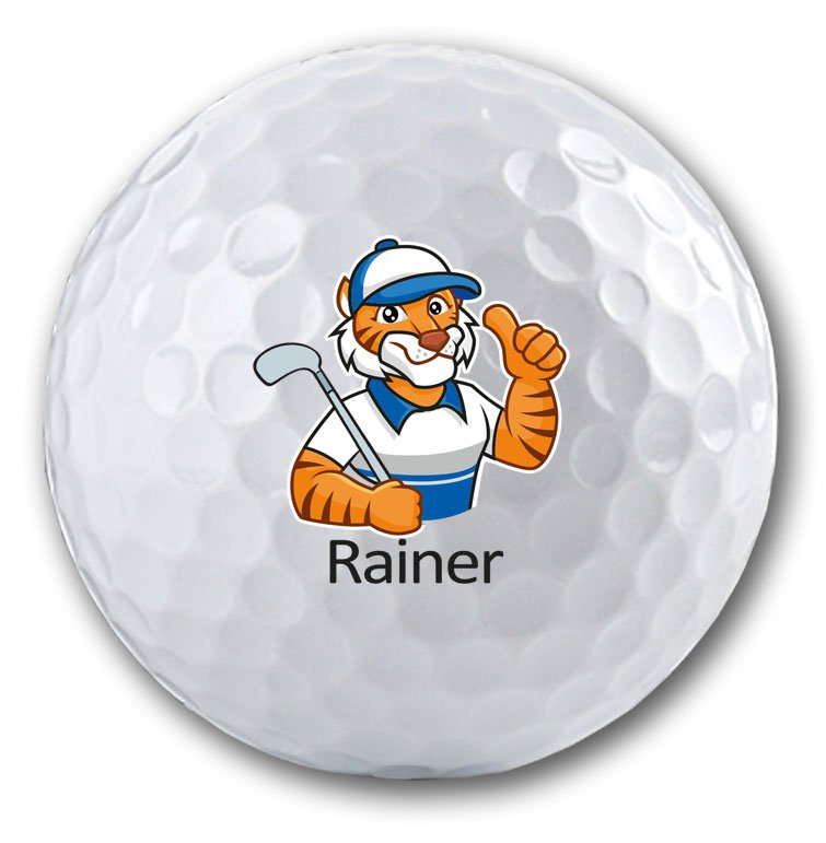 Golf Tiger auf Golfball bedruckt