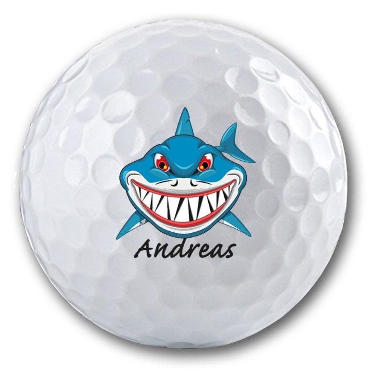 Bedruckter Golfball mit Haifisch Logo!