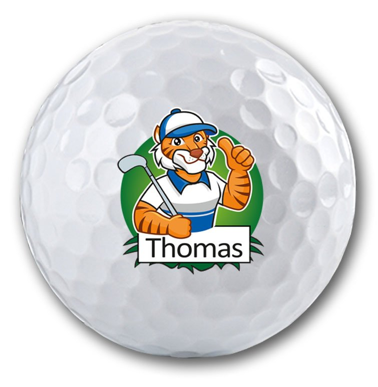 Bedruckter Golfball mit Tigermotiv und Namen!