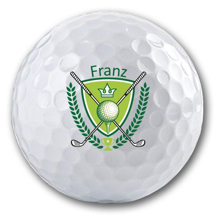 Edles Wappen mit Namen auf Golfball bedruckt