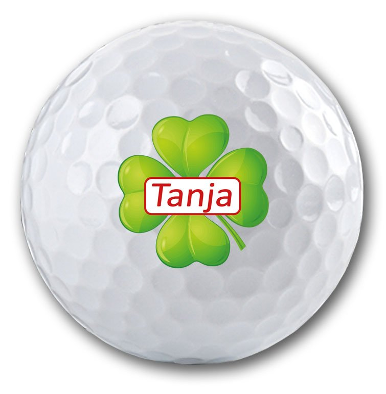 Kleeblatt mit Namen auf Golfball bedruckt!