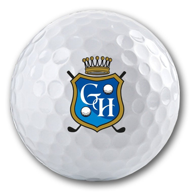 Exklusives Wappen auf Golfball bedruckt