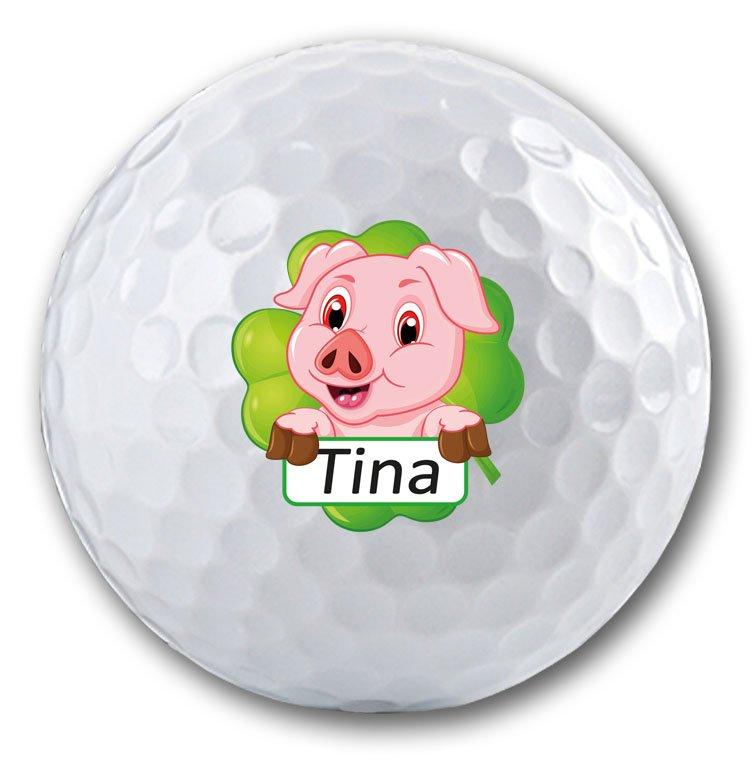 Golfball mit Glücksschwein bedruckt!